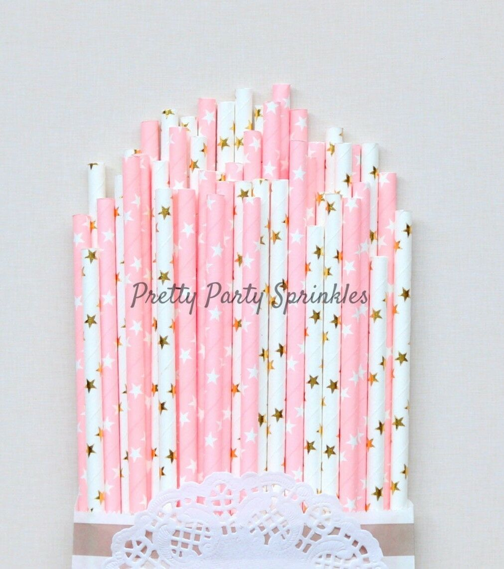 500 rose clair et feuille d'or STAR pailles Twinkle Twinkle Little Star Baby Shower