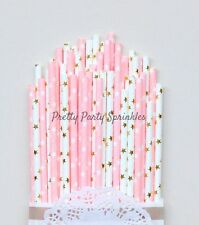 50 Pink and Gold Star Straws/Twinkle Twinkle Little Star/Girl Baby Shower Party