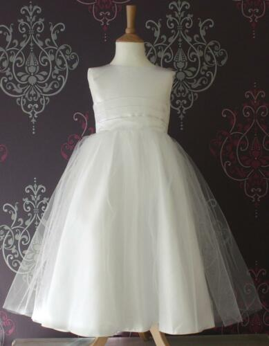 Flower Girl Dress Bridesmaid Pageant Wedding Ivory//White Baby Satin Band Belle
