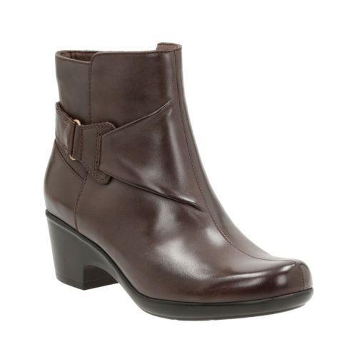 Clarks Mujer Malia McCall Cuero Marrón Oscuro ancle botas 26121105