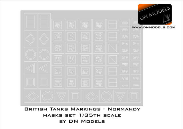 Paint Masks set 1/35 British Tanks Markings Normandy 1944 by DN Models