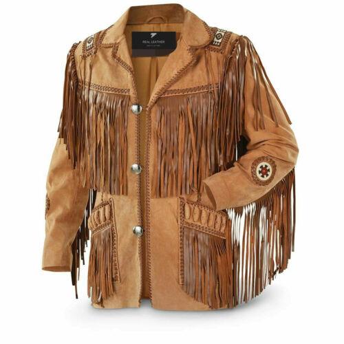 Men/'s Traditional Western Cowboy Leather Jacket coat with fringe bones and beads