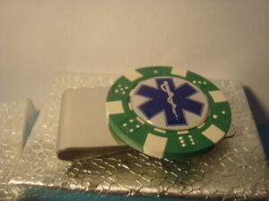 EMS Money Clip Star of Life Caduceus LOGO Poker Chip Silver Tone spring clamp