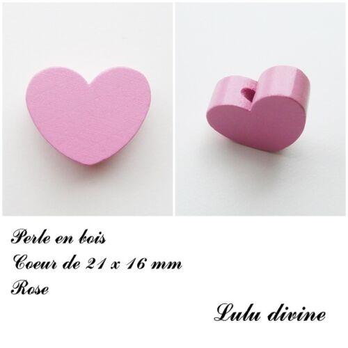 Perle en bois de 21 x 16 mm Rose Perle plate Coeur