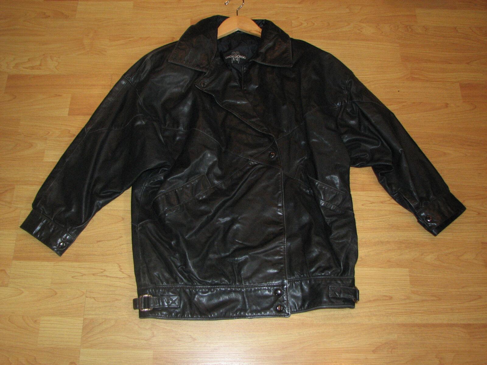 Gino Di Giorgio Women Medium Leather Coat Button Front 100% Leather