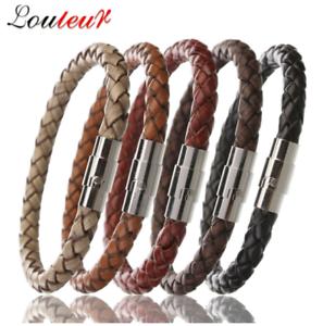 LOULEUR-100-Genuine-Braided-Magnetic-Leather-Bracelet-Men-Women-Stainless-Steel