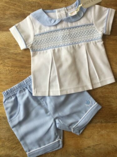 BNWT española estilo Smocked Azul Blanco Pantalones Cortos Set 0//3 3//6 6//9 meses