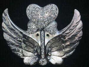 CRUSHED DIAMOND SILVER CRYSTAL STUNNING ARROW HEART IN WINGS, SPARKLY GIFT