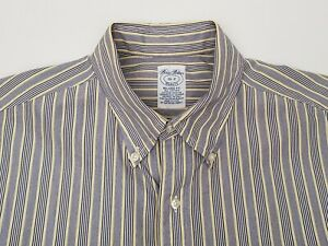 Brooks-Brothers-Makers-Men-039-s-Shirt-Size-16-2-Large-Relaxed-Blue-Yellow-Stripe