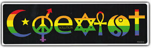 LGBT Bumper Sticker COEXIST Rainbow Style Support Gay Pride Ally Friendly Decal