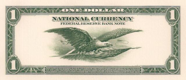 Proof Print by the BEP - Back of 1918 One Dollar Federal Reserve Note