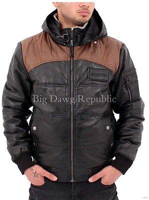 Removable Hood Men/'s Designer Leather Jacket Bomber Puffer Quilted Biker 7101