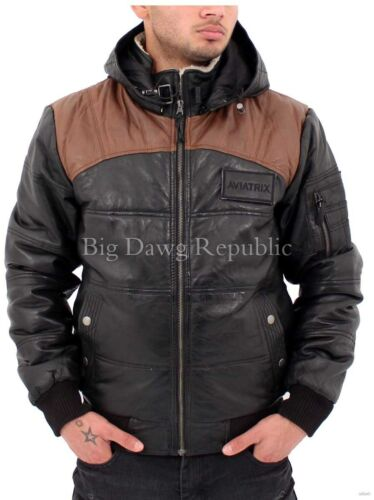 Biker 7101 Men/'s Designer Leather Jacket Bomber Puffer Quilted Removable Hood