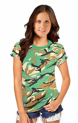 New Women Ladies Camouflage T-shirt Army Print Top Fancy Dress Parties Camo Top Elegant Im Geruch