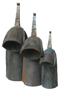 African Gankogui Bell Set - Iron Double Cow Bell - Set of 3, Large Medium and