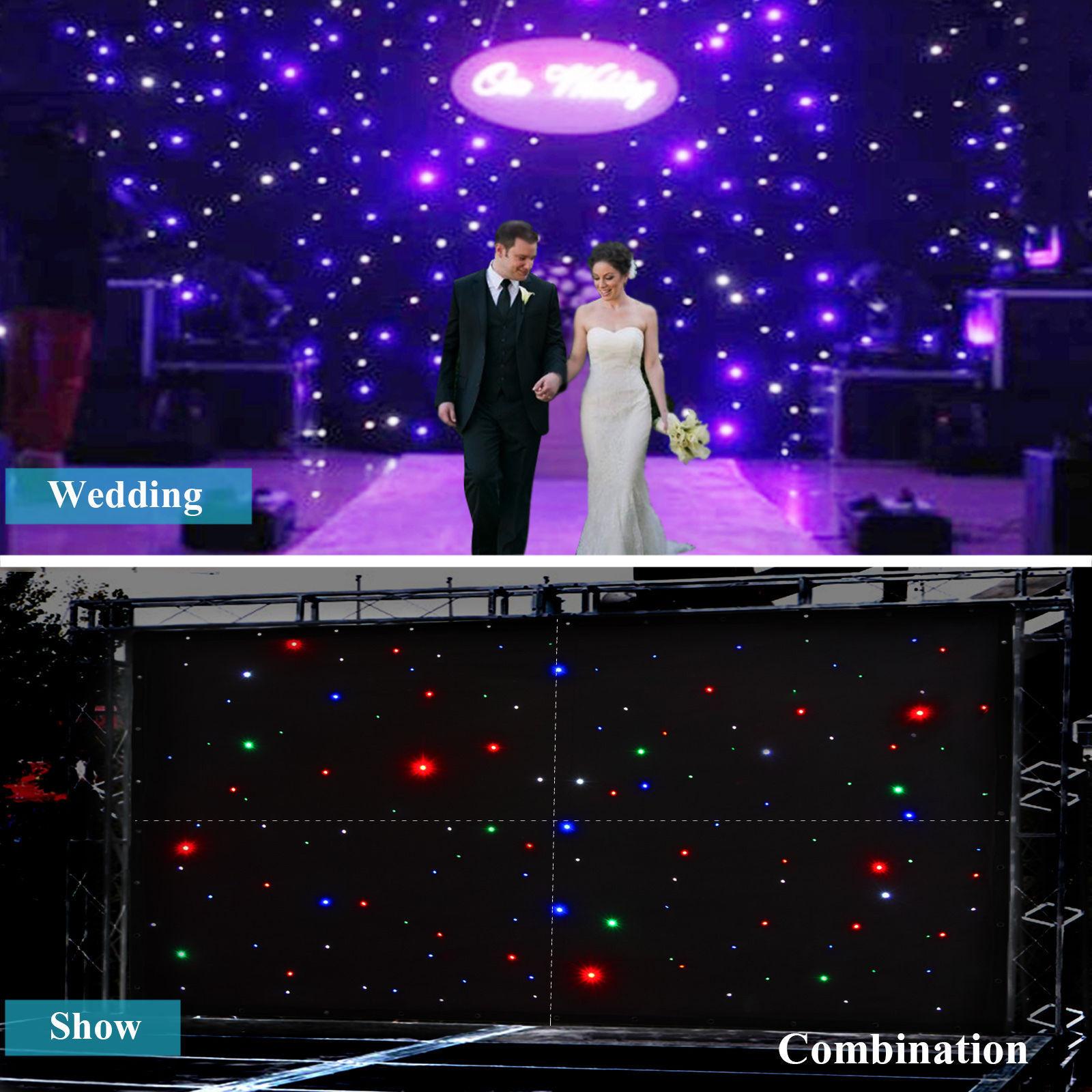 13X13FT 4X4M RGBW LED Stage Star Backdrop Wedding Party Curtain Retardant DJ Pub