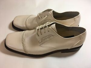 Bravados-Men-039-s-Shoes-Sz-12m-Oxford-Square-Ivory-Steel-Heel