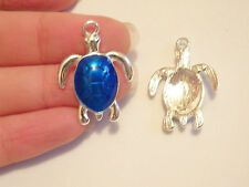 5 turtle tortois enemal charms blue pendant beads jewelry making wholesale UK