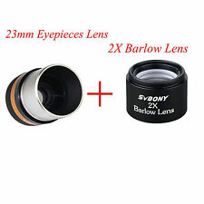 "1.25""31.7mm Astronomical Telescope WIDE Eyepiece Lens 23mm & 2x Barlow Lens"