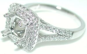 0-77-CT-Beautiful-DOUBLE-Cushion-HALO-DIAMOND-Mounting-RING-Setting-14-KW