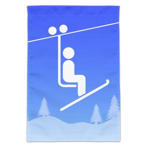 Skiing Ski Lift Symbol in Snow Garden Yard Flag