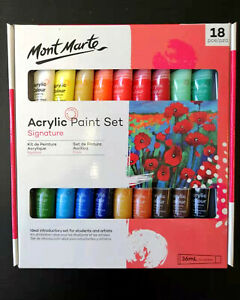 Acrylic-Paint-Set-18-x-36ml-Mont-Marte-Studio-Artist-Student-Painting-Bright