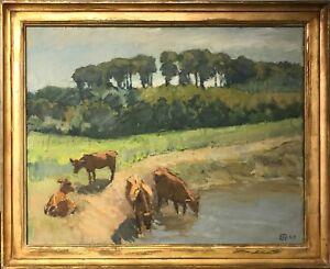 Emil-Nielsen-1897-1973-COWS-AT-WATERHOLE