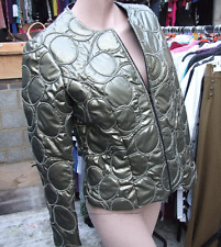 Joseph Ribkoff BNWT UK 10 Glorious Bronze Circle Squiggles Zip-Up Jacket US 8