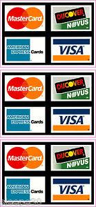 credit card logo sticker decals x3 visa mastercard discover