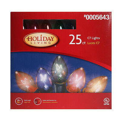 Brand New Box Of 25 MultiColor C7 Christmas Lights Holiday Living