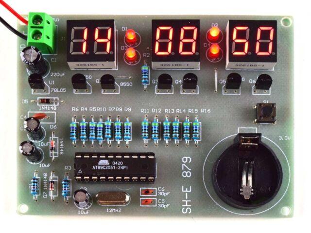 Digital LED Clock 6-Digit easy DIY Soldering Kit based on AT89C2051 Controller