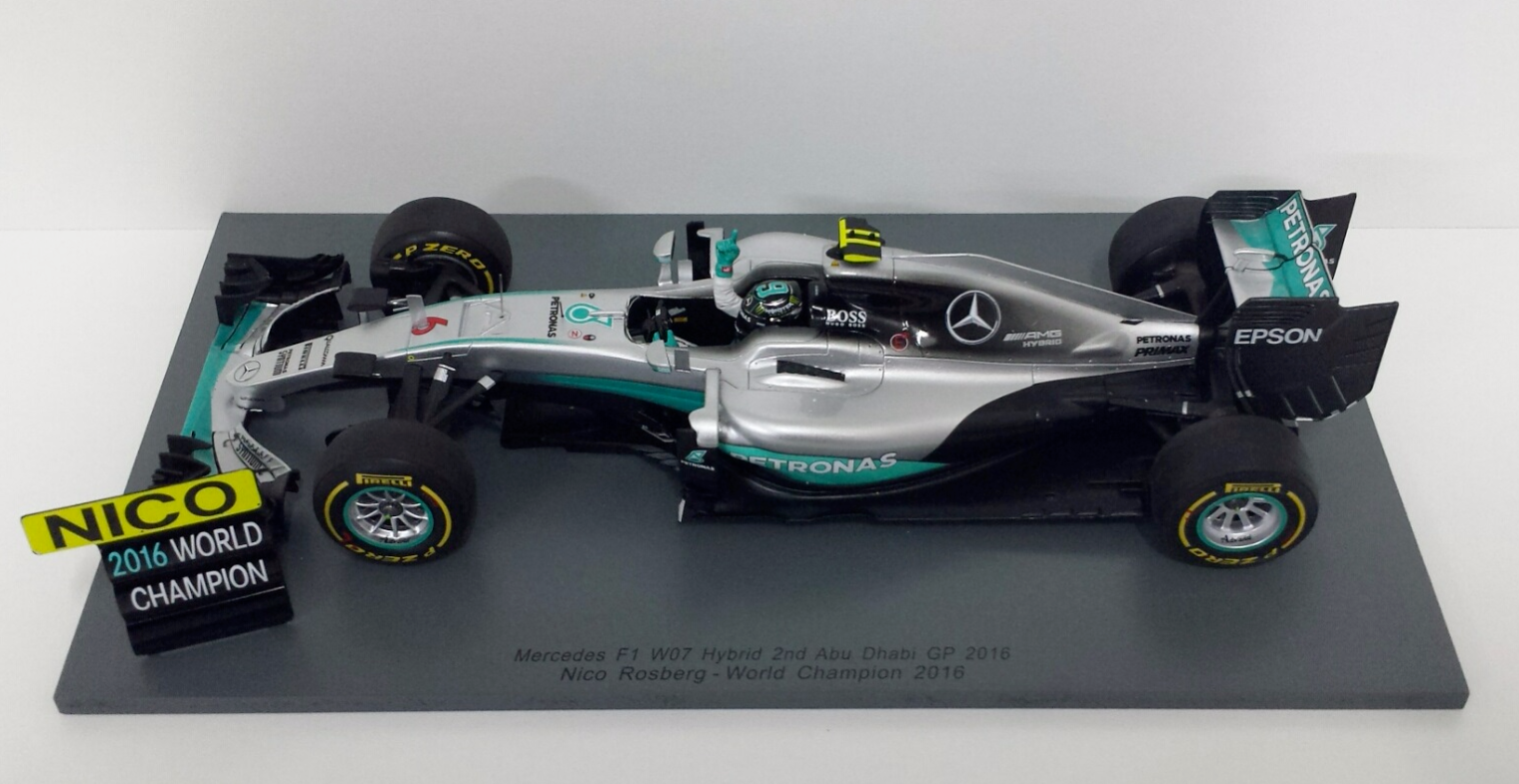 SPARK 1 18 F1 MERCEDES W07 NICO ROSBERG GP ABU DHABI 2016 WORLD CHAMPION 18S250