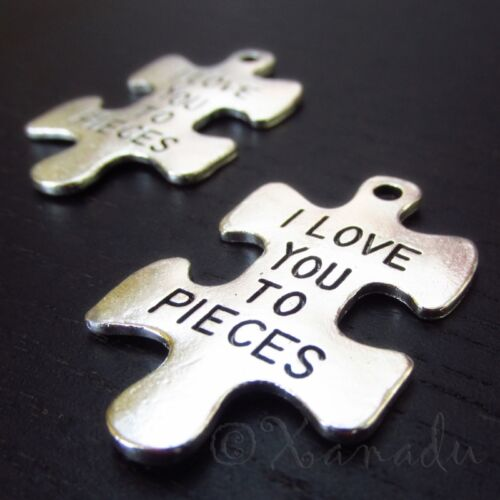 20PCs 10 I Love You To Pieces Antique Silver Plated Puzzle Charms C2952-5