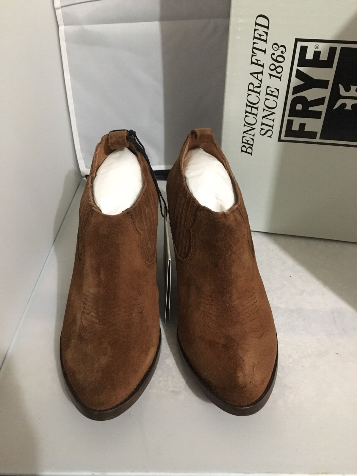 NIB FRYE ILANA Suede Western Slip On Bootie WOOD BROWN Sz 9.5 8