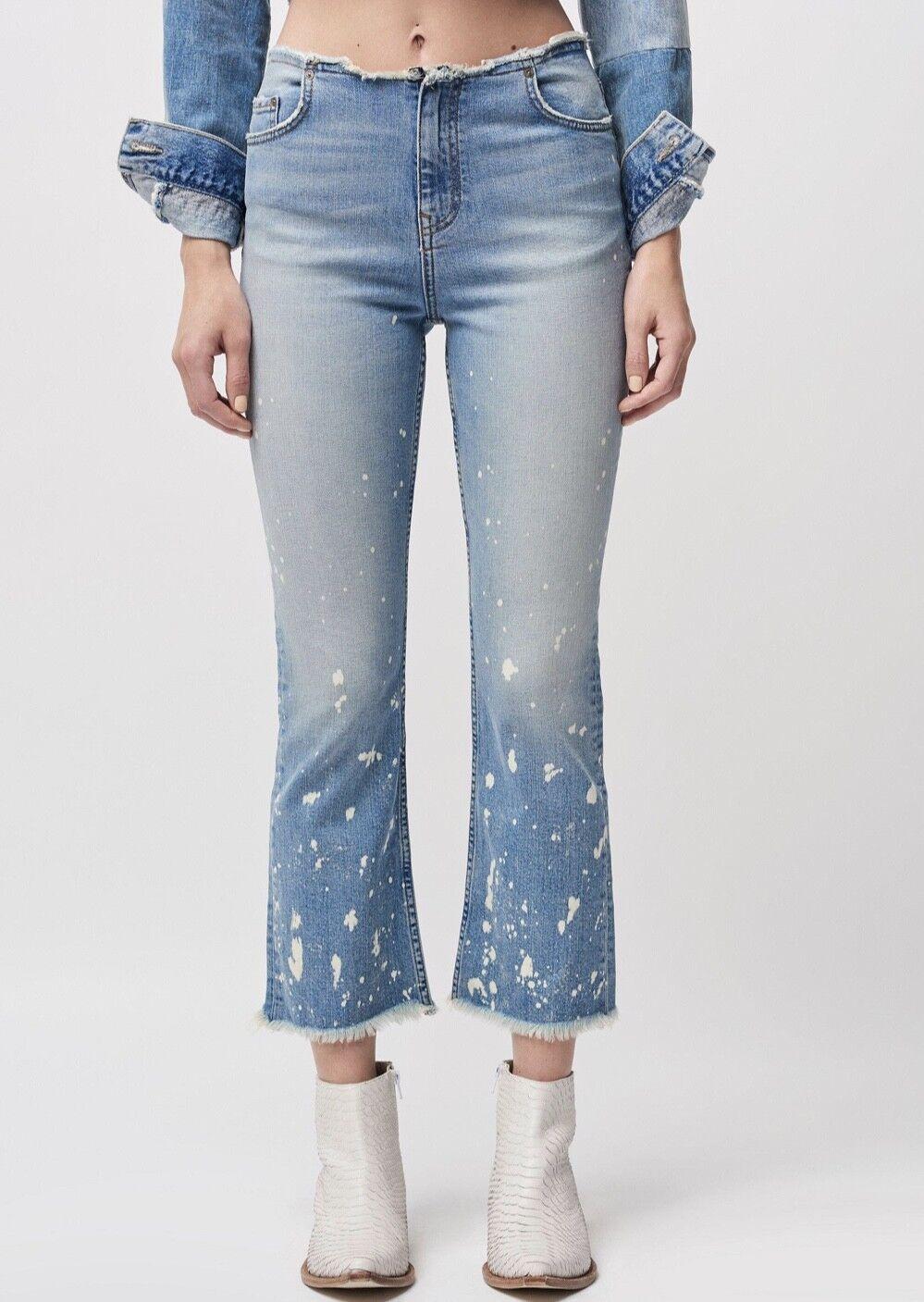 NEW Free People denim Raw Waistband Bleach Spot Mid Rise Crop Bootcut Jeans 28