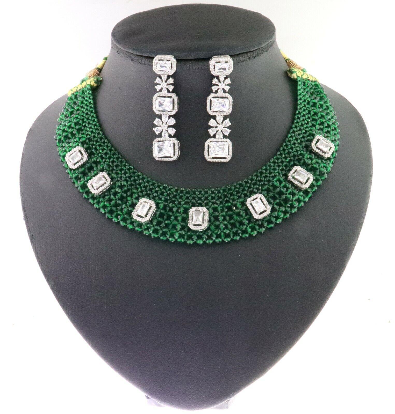 Cubic Zirconia Emerald Bids Designer Necklace Earring Set 14 GN 3