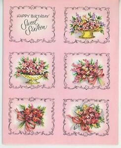 Vintage Feliz Cumpleanos Dulce Dieciseis Jardin Ramo Flores