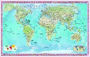 Huge Laminated WORLD MAP Poster Wall Chart Flags Educational A - A1 world map poster
