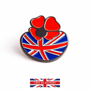 Poppy-Pin-Badge-Remembrance-Day-Enamel-Metal-Brooch-with-British-Flag