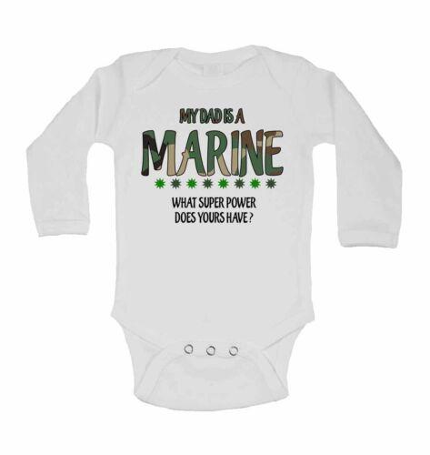 Mon père est un marine que super pouvoir ne la vôtre ont à manches longues bébé gilets