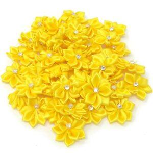 Yellow-Satin-Ribbon-Flowers-With-Rhinestone-Diamante-Centre-25mm-Craft-Flower