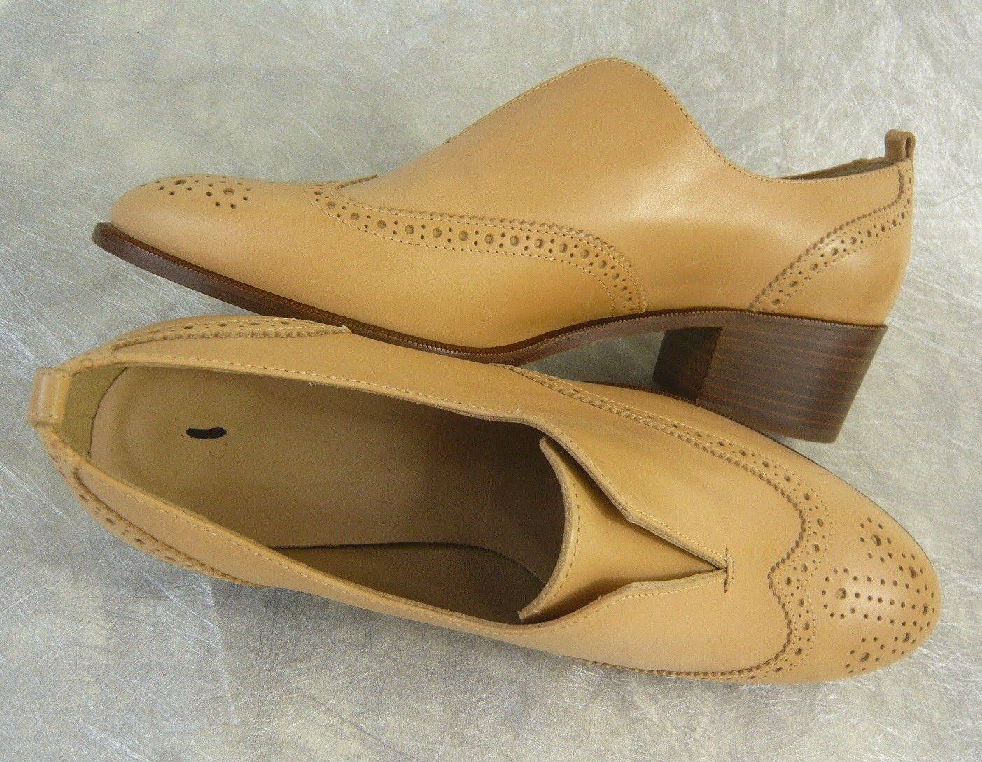 NEW J. CREW Retail    278 SLIP-ON LEATHER WING TIP LOAFERS TOASTED WHEAT 9.5 ITALY 67477a