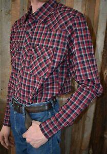 bc5b5690 New WRANGLER retro men's western shirt snap red plaid size M MVR404M ...
