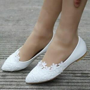 Women-039-s-Ballet-Flats-White-Lace-Wedding-Shoes-Flat-Heels-Shoes-Pointed-Toe-Chic