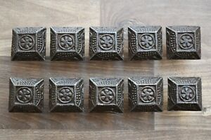 6pcs Vintage cast iron CLAMSHELL cabinet drawer door knobs cupboard screen handles pull rustic 1.5 381grams
