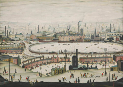 Large Framed LS Lowry Print The Pond c1950 Picture Painting English Artist
