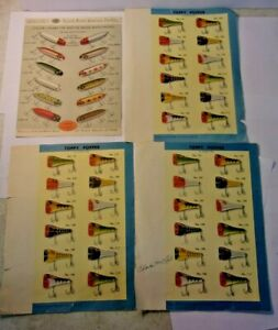 Vintage-COLOR-CHART-OF-SOUTH-BEND-BASS-ORENO-Lures-plus-3-TOPPY-POPPER