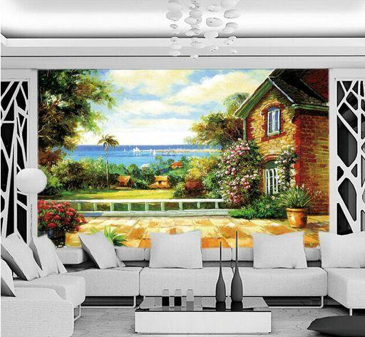 3D paesaggio fluviale  Parete Murale Carta da parati immagine sfondo muro stampa