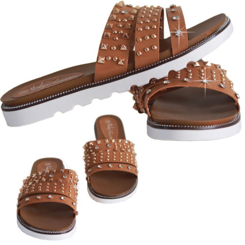 Womens Ladies Comfy Summer New Studded Sliders Flats Girl Shoes Slip On Slippers