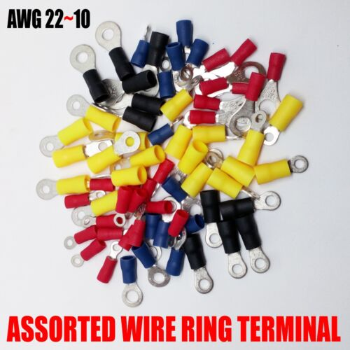 150 pcs Assorted  Wire Ring Terminals Vinyl 22-10 Gauge AWG